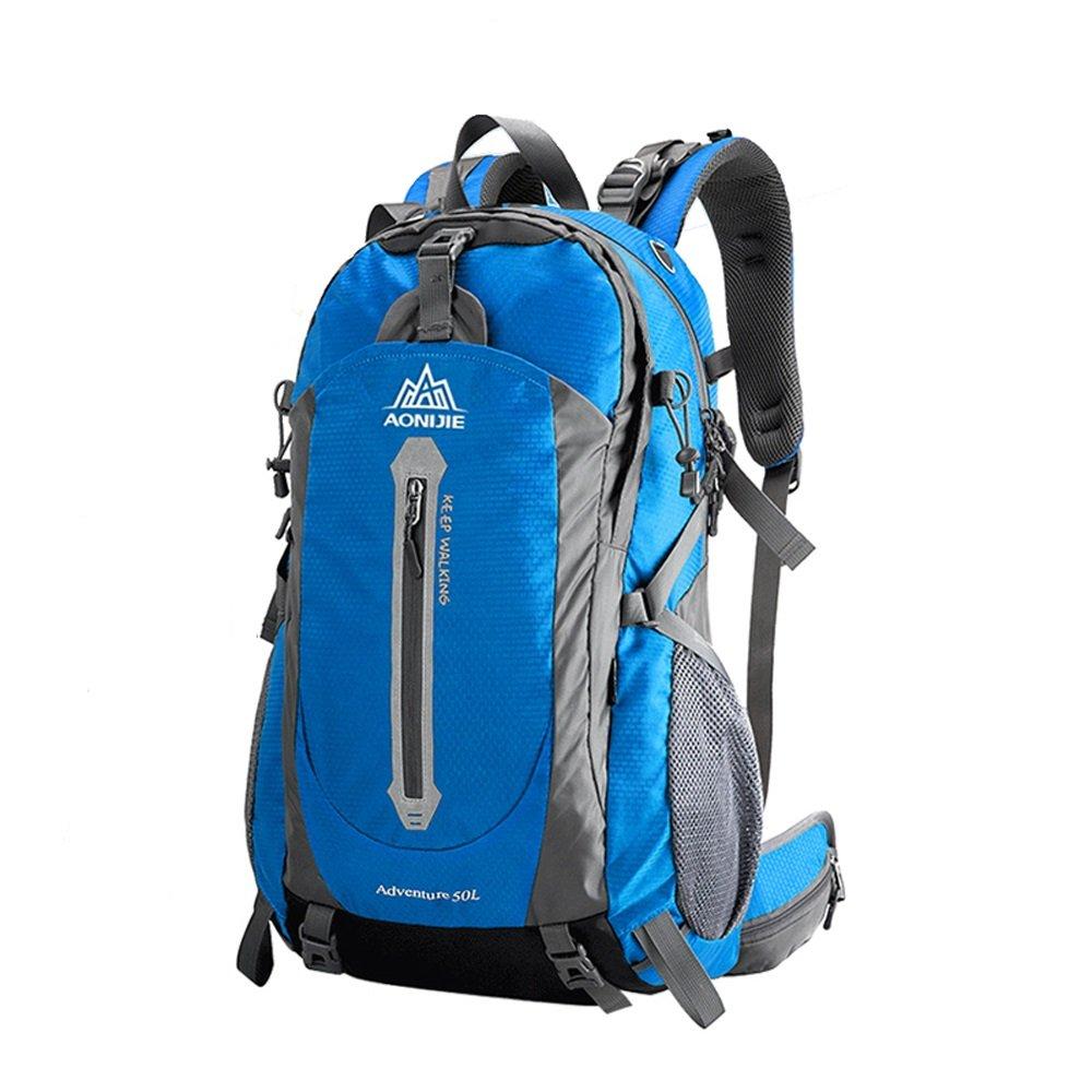 アウトドア登山バックパック、多目的ユニセックスレジャートラベルバッグ防水スポーツショルダーズリュックサック、耐摩耗性通気性50L大容量ナップザック、スクールバッグ(青)   B0798R24B1