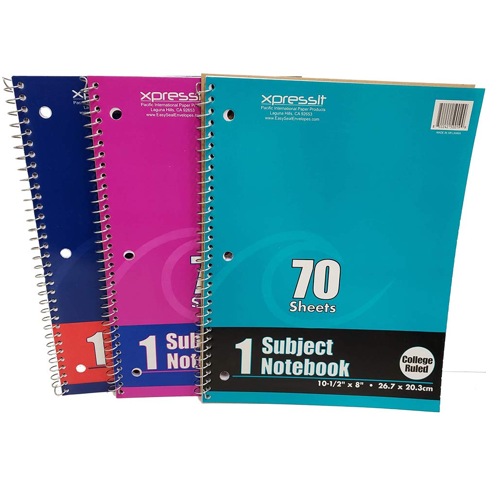 (Pack of 24) Xpressit Subject Notebook College Ruled, 70 Sheet, Assorted