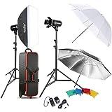 Godox Professional Photography Photo Studio Speedlite éclairage lampe Kit sertie (2 *) 300W Studio Flash stroboscope Stand Softbox réflecteur parapluie doux porte de grange Trigger