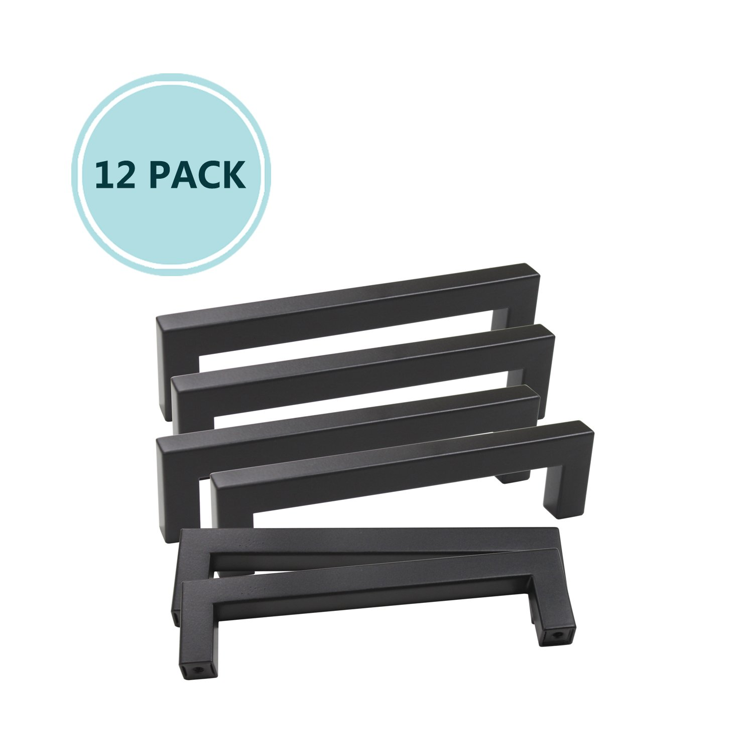 12 Pack Drawer Handle Black Stainless Steel, Square Bar Cabinet Pull for Kitchen and Bathroom Cabinets Door, 5'' Hole Center, Overall Lenth 5.5''