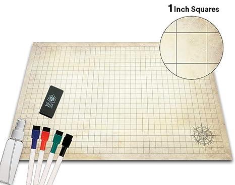 amazon com battle grid game mat 36 x 24 portable rpg table top