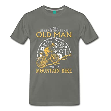 fe29ad04 Never Underestimate an Old Man Mountain Bike Humor Graphic Tee Premium  Funny T-Shirt   Amazon.com