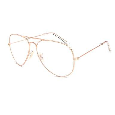 4ff736c5c5 Metal Frame Clear lens Aviator Glasses Metal Vintage Retro Fashion Glasses  Eyewear Unisex (Rose Gold)  Amazon.co.uk  Clothing
