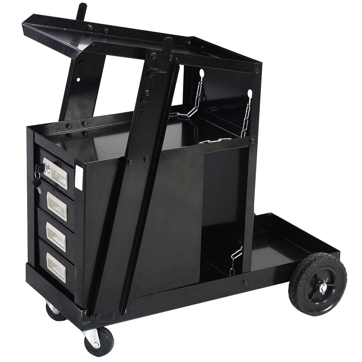 New Black 4 Drawer Cabinet Welding Welder Cart Plasma Cutter Tank Storage MIG TIG ARC