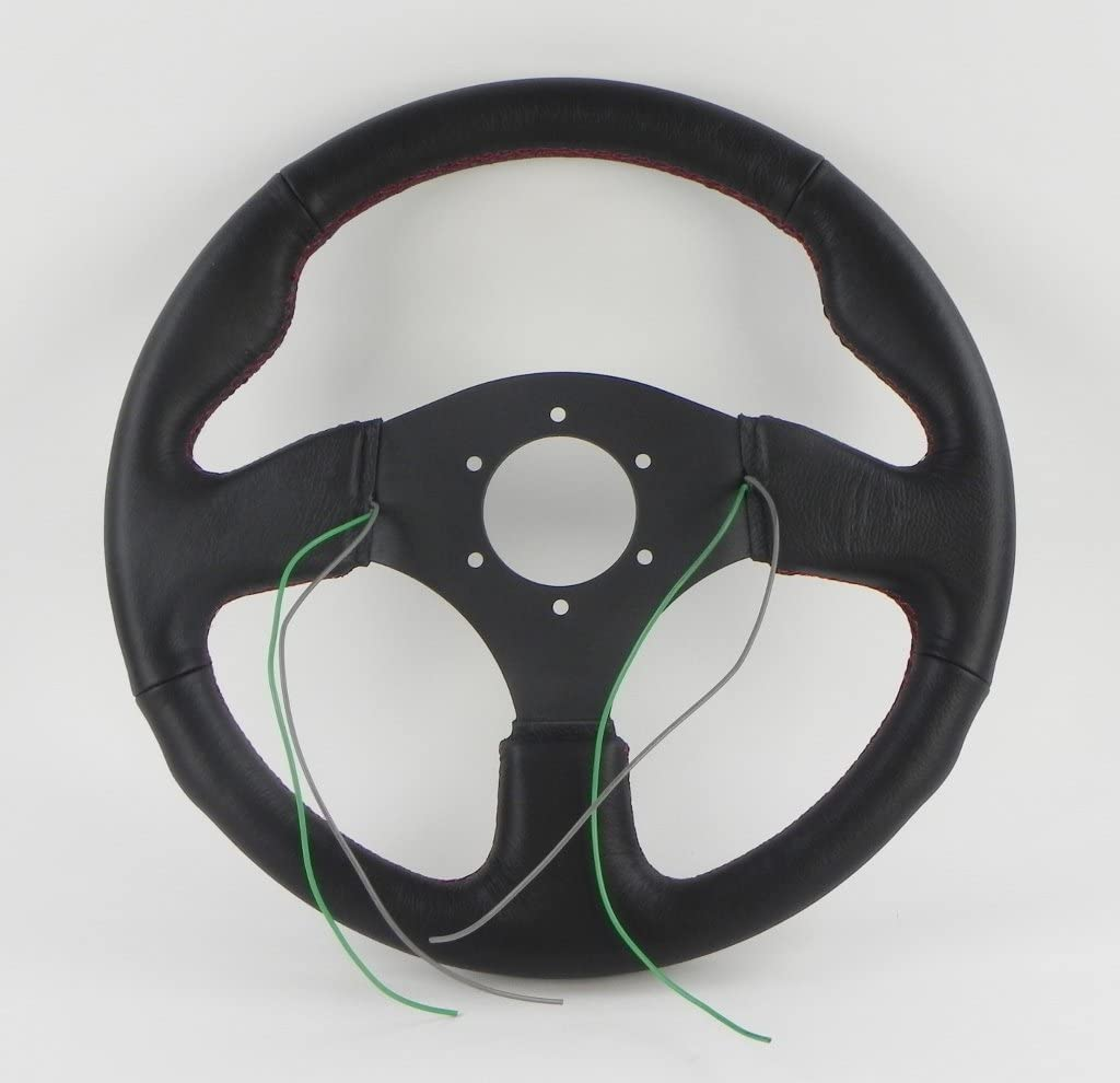 - Black Leather with Two Buttons//Red Stitching - 320mm NRG Steering Wheel 12.60 inches 07 Two Button Part # ST-007R