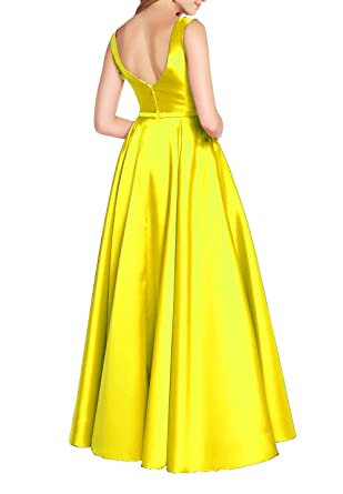 Ladsen Long Open Back Bridesmaid Dresses 2018 New Yellow Us26 Plus
