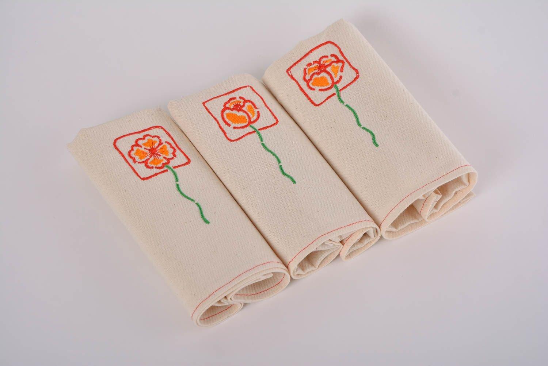 Set of 3ハンドメイドデザイナーセミリネン布ナプキン刺繍入り花   B014PCOYF0