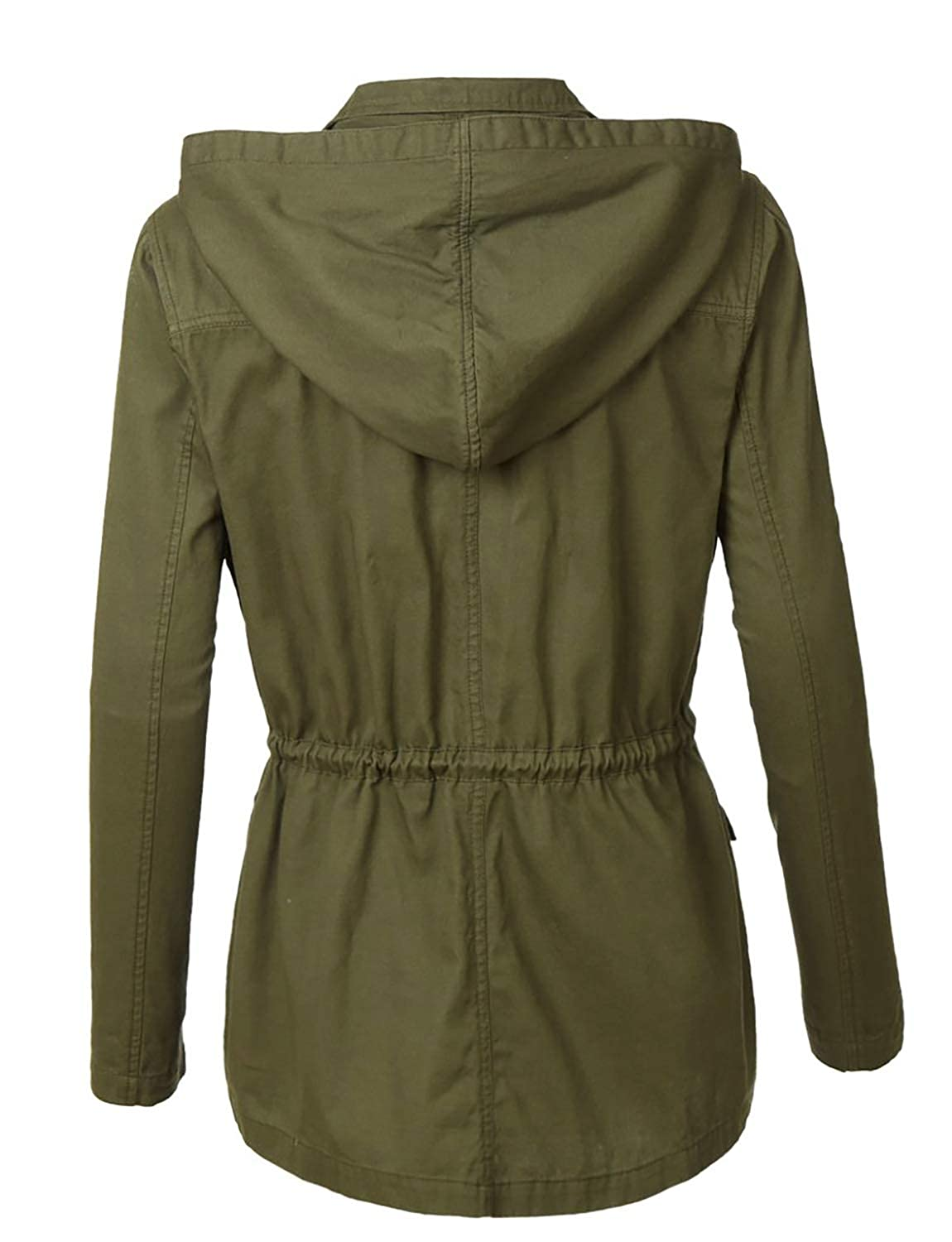 LE3NO Lightweight Casual Military Hooded Anoraks Safari Jacket with Drawstring for S-3XL