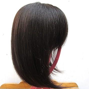 Parte superior de cabello humano de repuesto, corona de clip para el pelo con flequillo