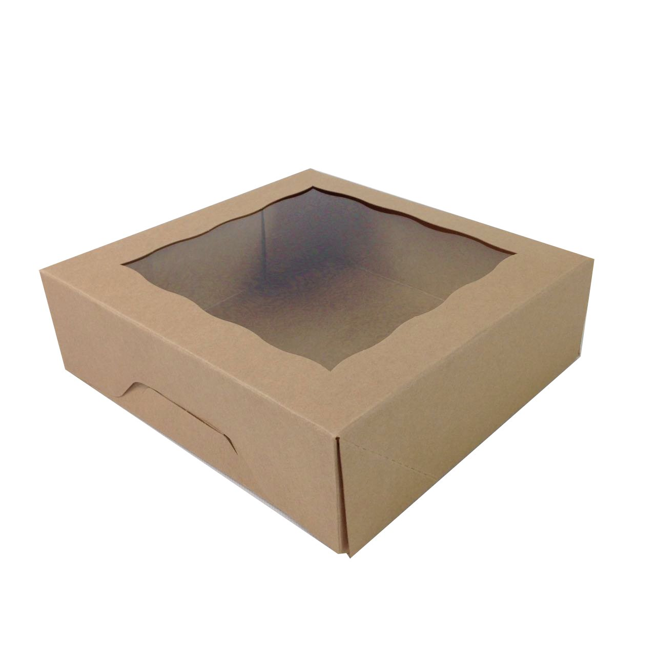 Black Cat Avenue 8'' x 8'' x 2 1/2'' Kraft Brown Food Boxes Cookie Boxes with Window Pie Pastry Container Display Bakery Boxes, 5 Count