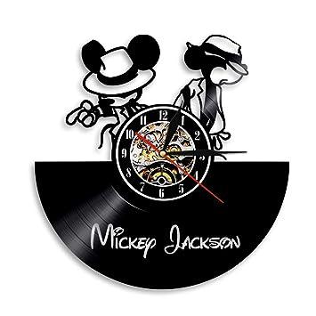ACHZX Mickey and Minnie Mouse - Reloj de Pared de Vinilo LED, diseño de Mickey y Minnie Mouse, Estilo Vintage: Amazon.es: Hogar