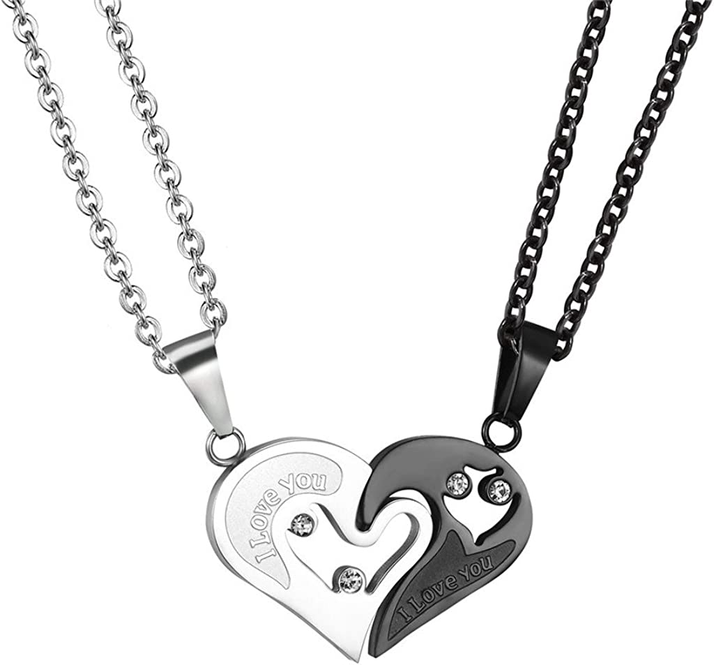 Couple Heart/Cat Necklaces, 2pcs Necklaces/Set, Black/18K Real Gold Plated 316L Stainless Steel, Mens Womens Jewelry (with Gift Box)