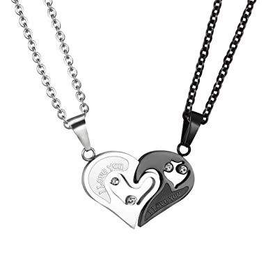 fd7667c94a Heart Couple Pendant I Love You Necklace Anniversary Stainless Steel Black  Gun Plated Heart Jewelry PSP2531H: Amazon.ca: Jewelry