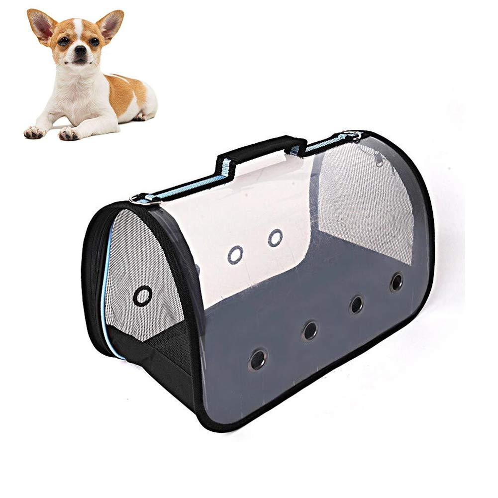 bluee Medium bluee Medium Transparent Pet Carrier, for Cats and Puppies, Collapsible Breathable,bluee,M