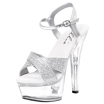 85aa0f84094 Summitfashions 6 Inch Women s Evening Shoes Sexy High Heel Sandals Mid  Platform With Glitter Size