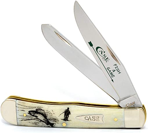 CASE XX WR Pocket Knife Fish Game Natural Smooth Bone Trapper – Fly Fisherman Item 20848 – 6254 SS – Length Closed 4 1 8 Inches