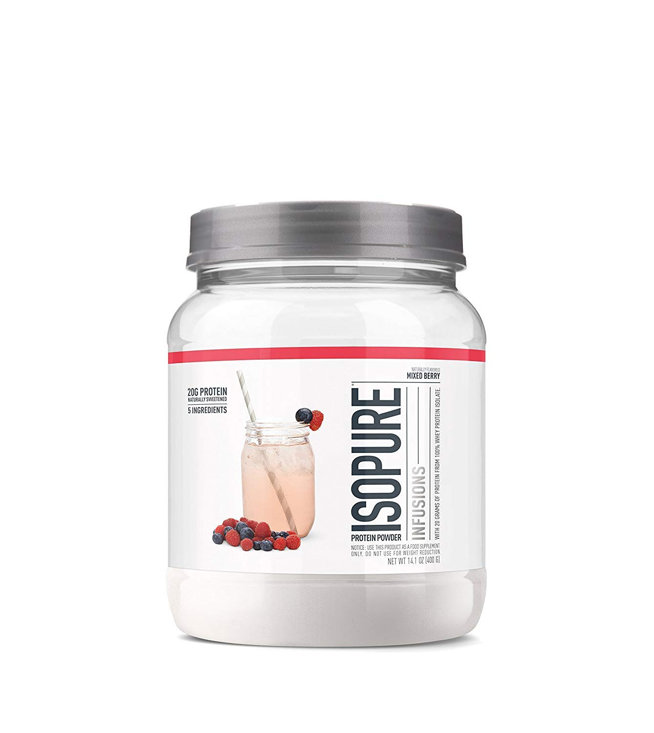 "ISOPURE INFUSIONS, Refreshingly Light Fruit Flavored Whey Protein Isolate Powder, ""Shake Vigorously & Infuses in a Minute"", Mixed Berry, 16 Servings"