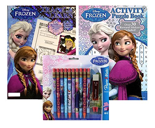 Disney Frozen Trace And Learn Activity Puzzle Book Paper Mate Mechanical Pencils