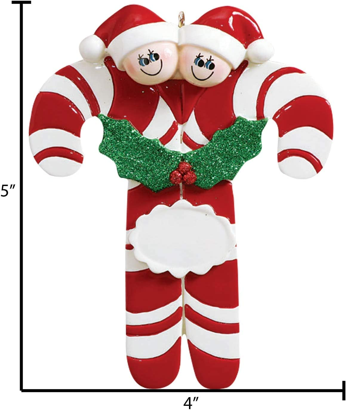 New CANDY CANE STRIPED BALL Christmas Tree Ornaments Set of 4 PEPPERMINT GLITTER