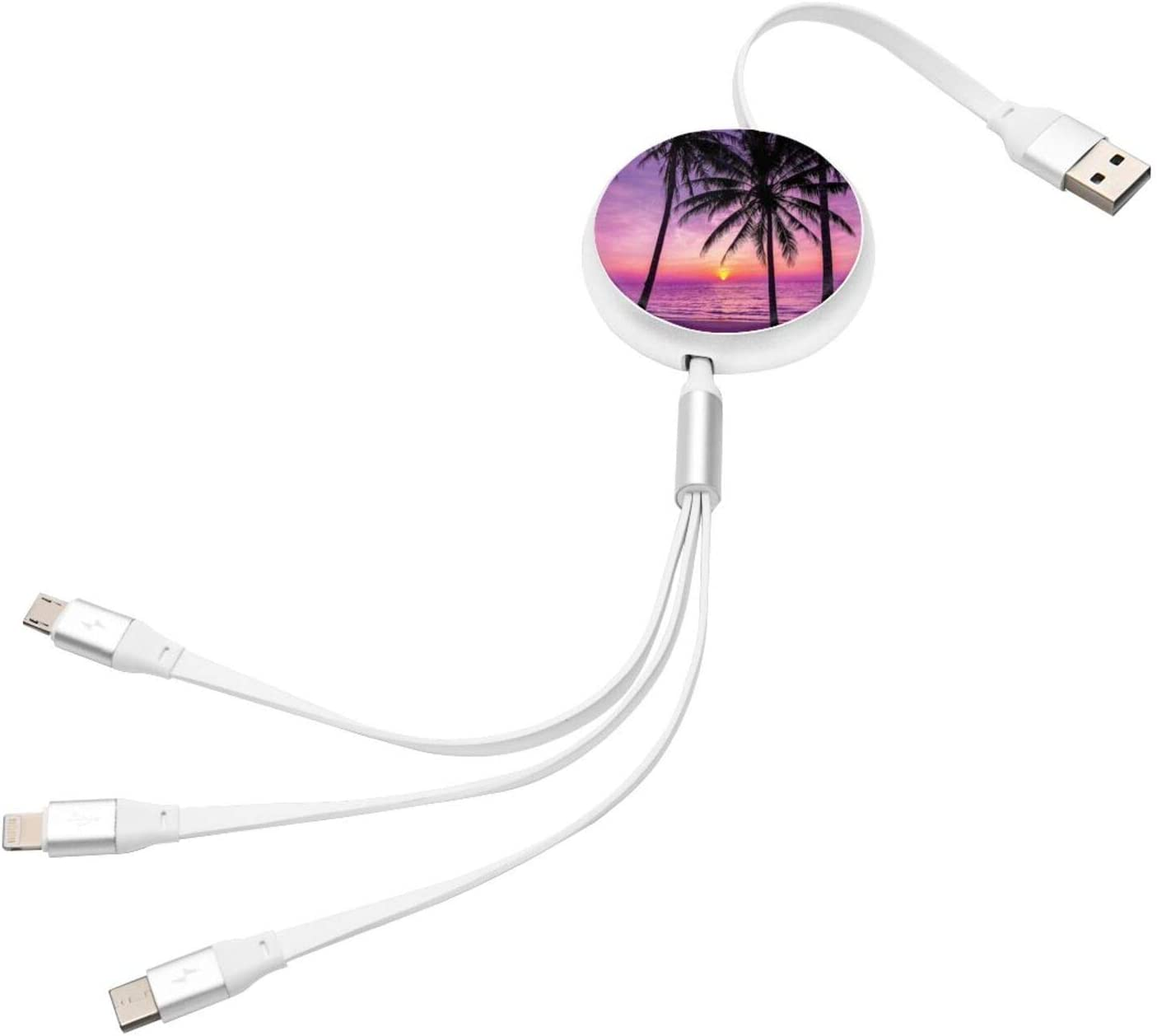 Multi Charging Cable Portable 3 in 1 Palm Trees Silhouette at Sunset Dreamy Dusk Warm Twilight USB Cable USB Power Cords for Cell Phone Tablets and More Devices Charging