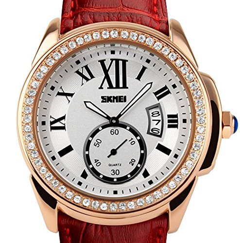 Amazon.com: Reloj De Mujer Women Casual Quartz Wristwatch Relogio Feminino RE0030 (Red): Watches