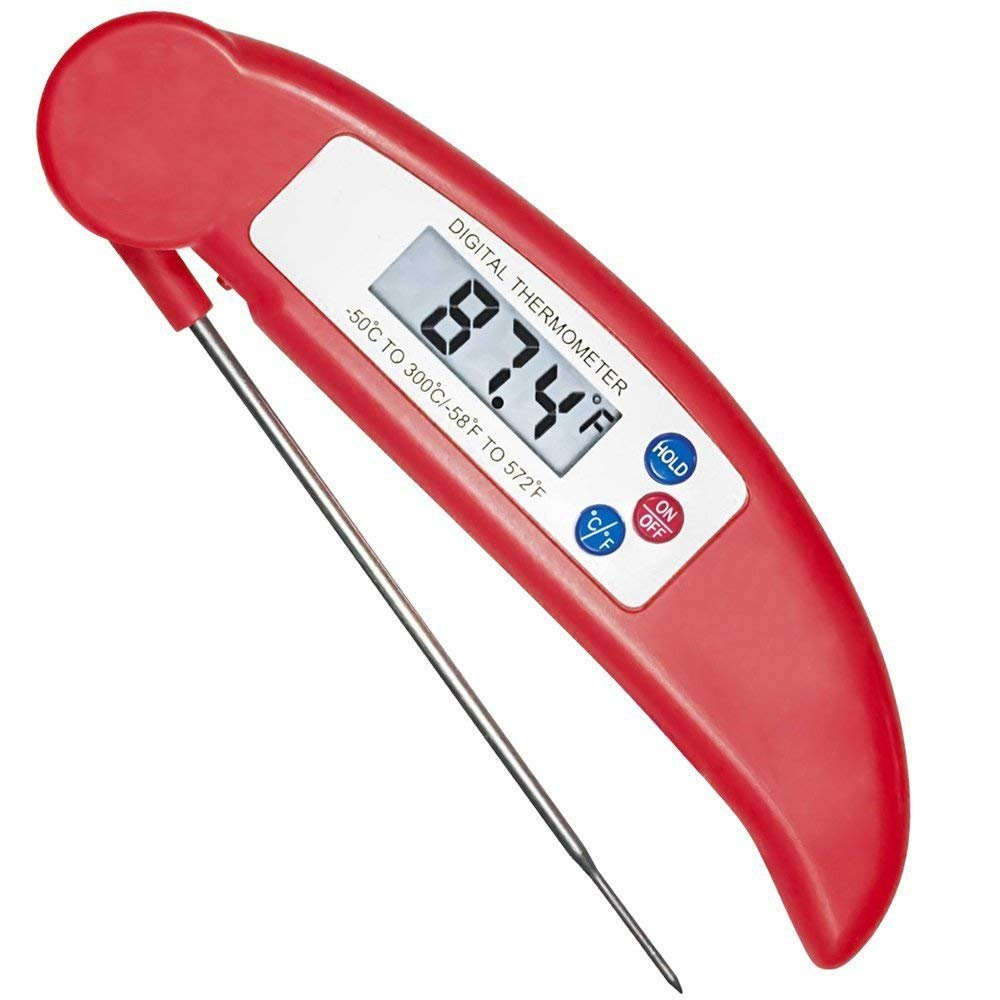 Cooking Thermometer Leoshark Digital Instant Read Kitchen Thermometer Food Meat Thermometer with Long Stainless Long Probe for Turkey Grill BBQ Chicken Fish Steak Soup Candy Milk Smoker Bath Water