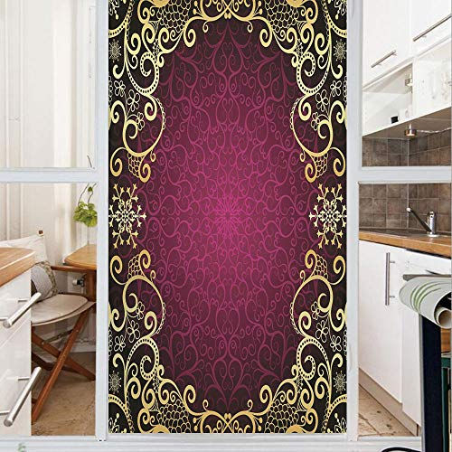 Decorative Window Film,No Glue Frosted Privacy Film,Stained Glass Door Film,Purple Vintage Framework with Curls Snowflake Fantastic Abstract Retro Style Decorative,for Home & Office,23.6In. by 35.4In