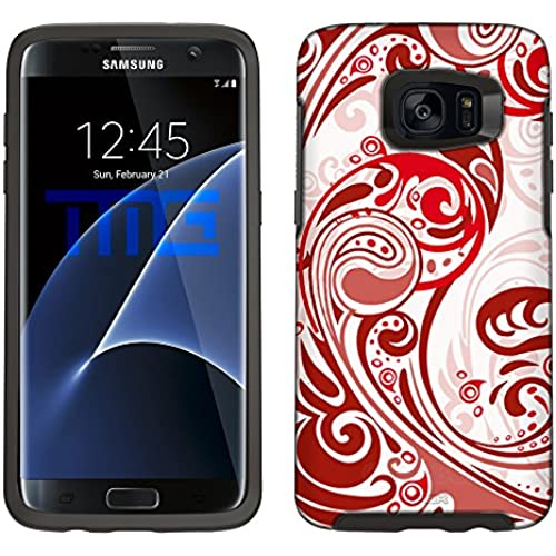 Skin Decal for Otterbox Symmetry Samsung Galaxy S7 Edge Case - Abstract Swirled Sades of Red on White Sales