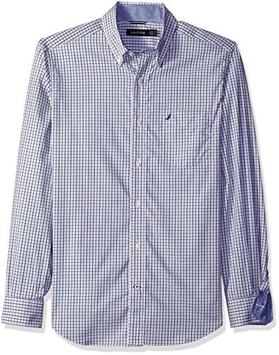 UPC 823283889762, Nautica Men's Classic Fit Wrinkle Resistant Navy Mini Plaid Shirt, True Blue, M