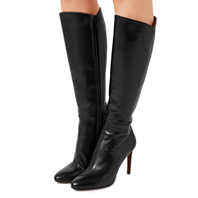 957949996b1 FSJ Women Knee High Long Boots Round Toe Stiletto Heel Winter Riding Boots  Side Zipper Size