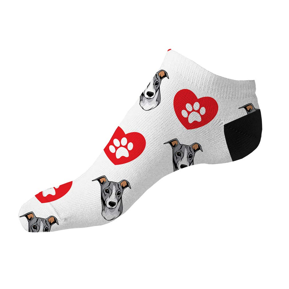 Italian Greyhound Dog Heart Paws Pattern Men-Women Adult Ankle Socks