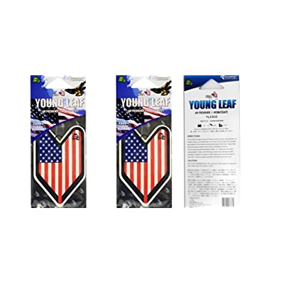 Tree Frog Young Leaf Hanging Air Freshener x 2 (USA Flag): Automotive