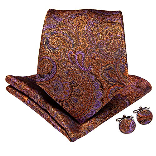 (DiBanGu Paisley Necktie Silk Vintage Tie Pocket Square Set for Men Formal Handkerchief and Cufflink Wedding Prom)