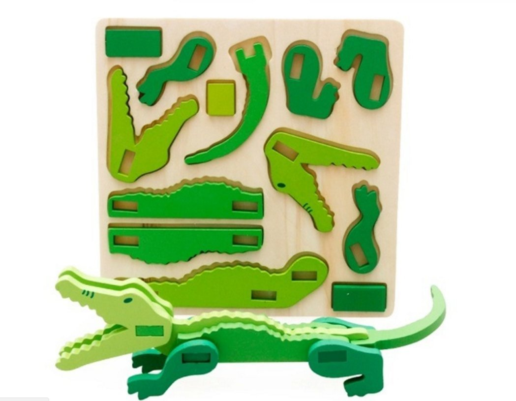 U.D. Let's Make - Children 's Wooden 3D Animal Crocodile