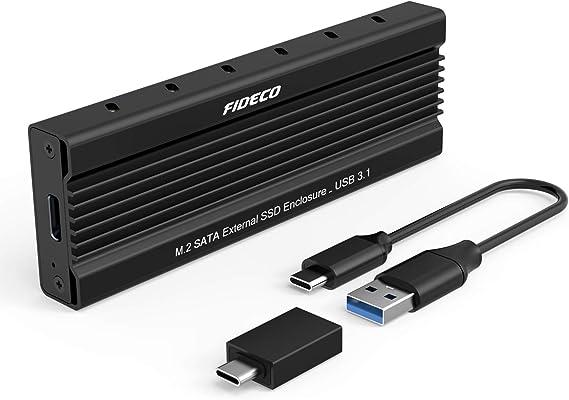 FIDECO M.2 SATA NGFF Carcasa Externa SSD, USB 3.1, Gen 2, 10 Gbps Adaptador, Caja Externa de SSD para M.2 B-Key y B+M Key SSD 2230/2242/2260/2280
