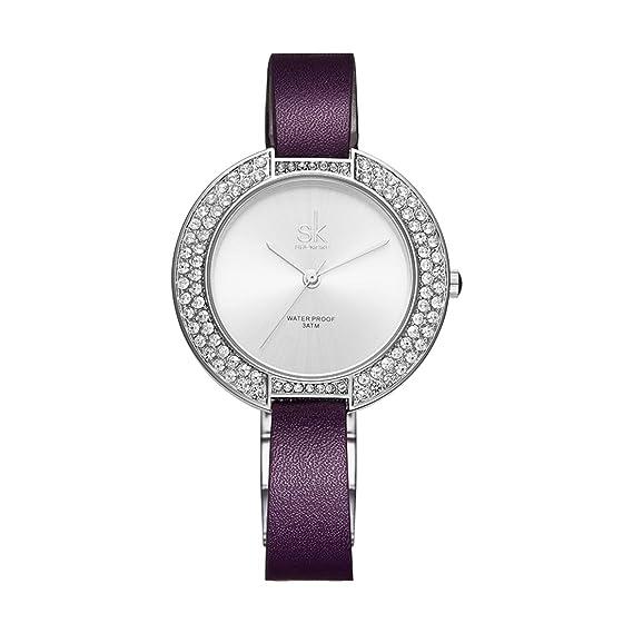 shengke para mujer relojes elegante brillante cristal fino Correa de piel resistente al agua reloj de