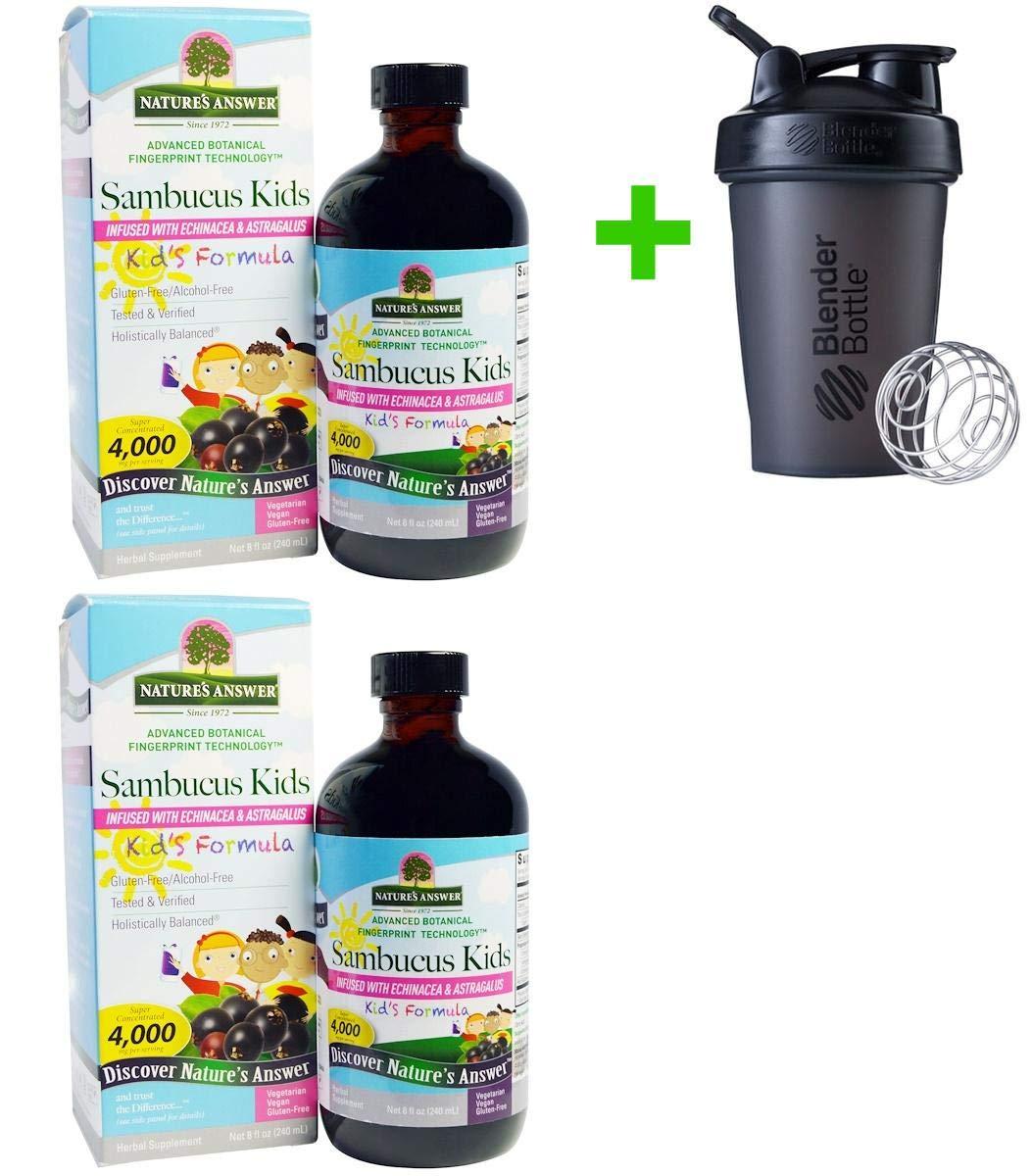 Nature's Answer, Sambucus Kid's Formula, 4,000 mg, 8 fl oz (240 ml))(2 Packs)+ Assorted Sundesa, BlenderBottle, Classic with Loop, 20 oz