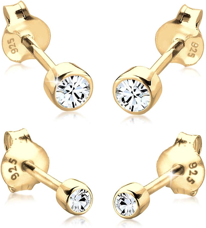 Elli Pendientes para Mujer, juego de 2 pendientes con cristales Swarovski en plata esterlina de ley 925 en baño de oro