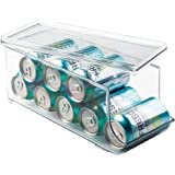 InterDesign Fridge/Freeze Binz Storage Boxes, Kitchen Storage Container with Space for 9 Drinks Cans, Plastic Clear