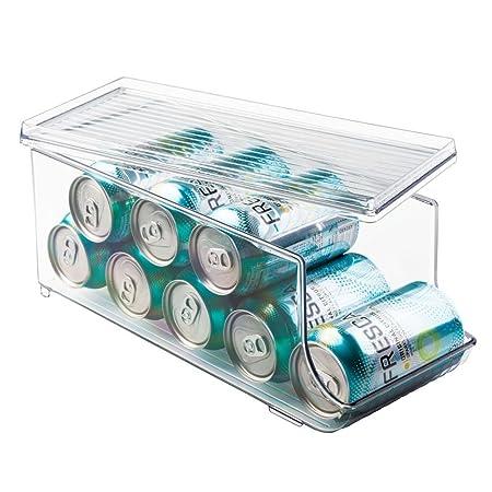 iDesign Caja organizadora para frigorífico con tapa, organizador de nevera de plástico para 9 latas de bebidas, organizador de cocina para conservas, ...