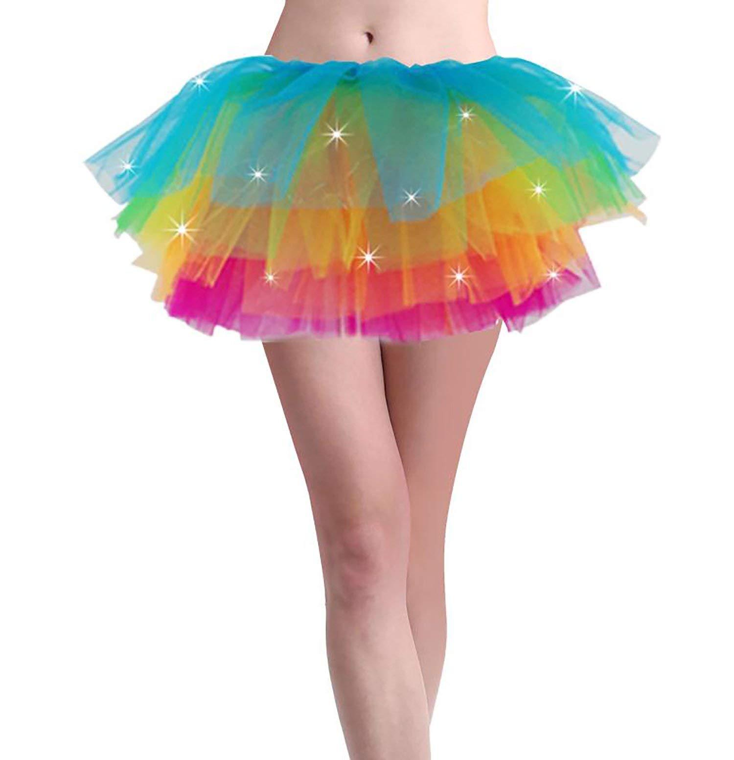 Women Led Light Up Neon Rainbow Party Dance Tutu Skirt
