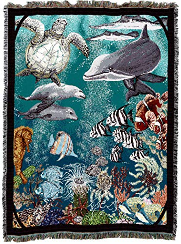 Pure Country Weavers | Underwater Turtle and Dolphin Woven Tapestry Throw Blanket Cotton with Fringe Cotton USA 72x54