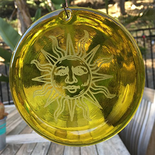 Beautiful Etched Glass - 4-Inch Etched Sun Suncatcher In Yellow from our Beach Collection - Made In the USA. A Great Gift For Anyone. Colorful Suncatchers Bring a Room or View To Life.