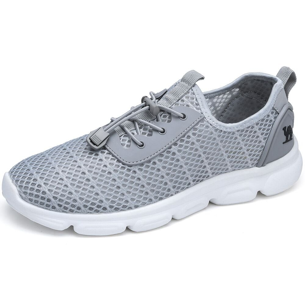 CAMEL SHOES Popular Unisex Casual Walking Shoes Lightweight Trainers Mesh Upper Sneakers Flat Running Fitness Athletic Shoe for Boys Girl Teens, Grey, UK7.5/EU41