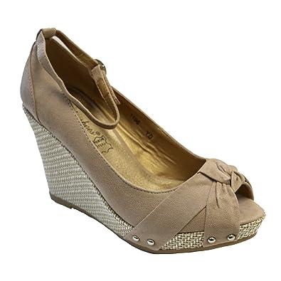 Lily Shoes Sandales talon compensé Beige - Chaussures Escarpins Femme