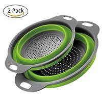 2 pezzi Scolapasta in Silicone Pieghevole BSVLIA Silicone Filtro Cucina In Silicone Pieghevole Cestino per Cucina Domestica O Campeggio