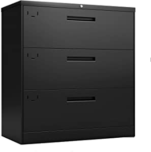Modern Luxe 3 Drawer Lateral File Cabinet, 2 Keys Metal Vertical Lockable File Cabinet with Hanging File Frame for A4, F4, Letter Sized and Legal Sized Files, for Home, Business, Office, School