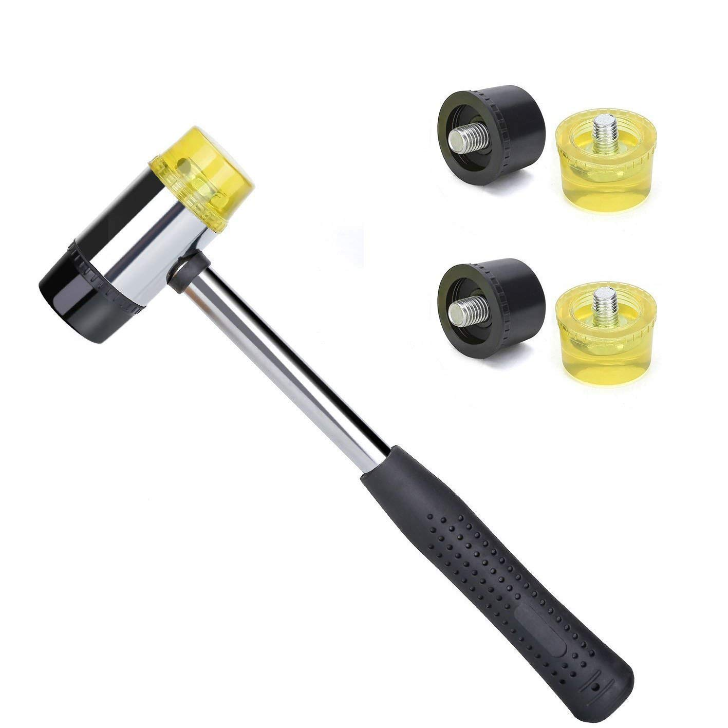 Rannb Lightweight Dual Head Rubber and Nylon Soft Mallet Sets Include 2 Soft Rubber & 2 Hard Plastic Head Tips Replacement (23mm Dia)