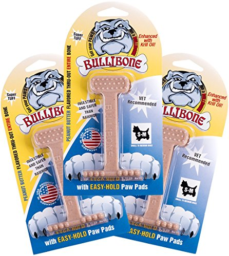 Bullibone Nylon Dog Chew Toy Small Nylon Bone - Improves Dental Hygiene, Easy to Grip Bottom, and Permeated with Flavor (3-Pack, PB)