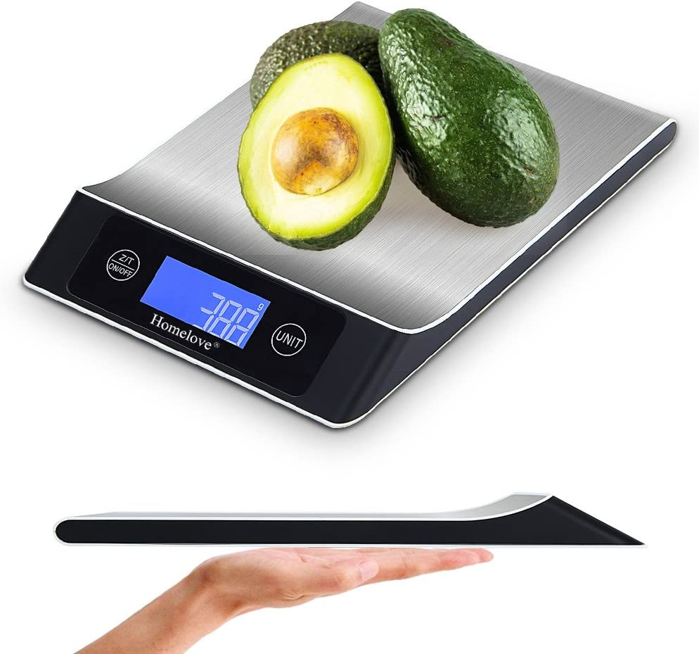 Homelove Digital Food Scale Kitchen Scale, 11 lb/5 kg, LCD Display, Automatic turn-off Function, Multiple unit-conversion (Batteries Included) Black